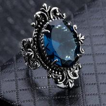 Goose egg-shaped mar azul pedra anel de cristal anéis para as mulheres moda presente de casamento anill festa de noivado declaração jóias