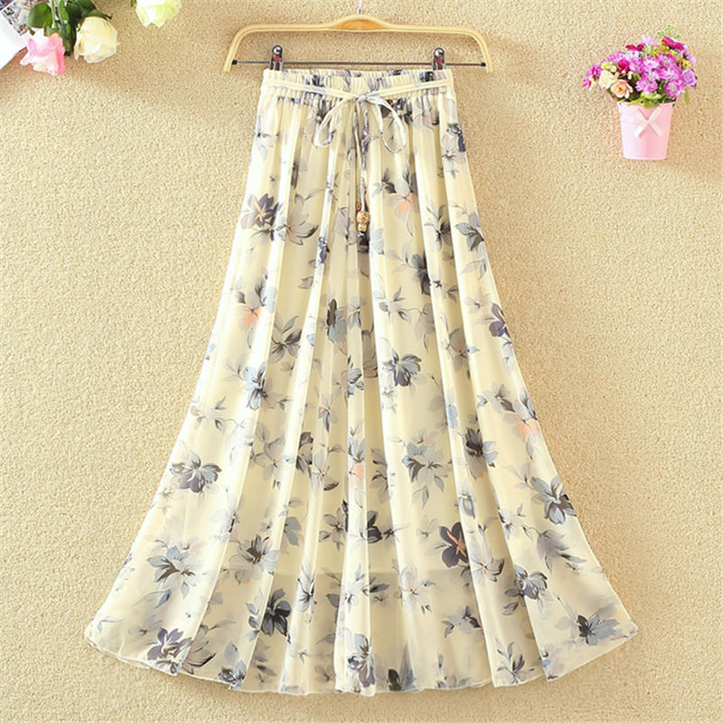 And Summer Bohemian Long Skirt National Style Beach Skirt Printed Chiffon Skirt Medium Length Large Skirt Fairy Skirt