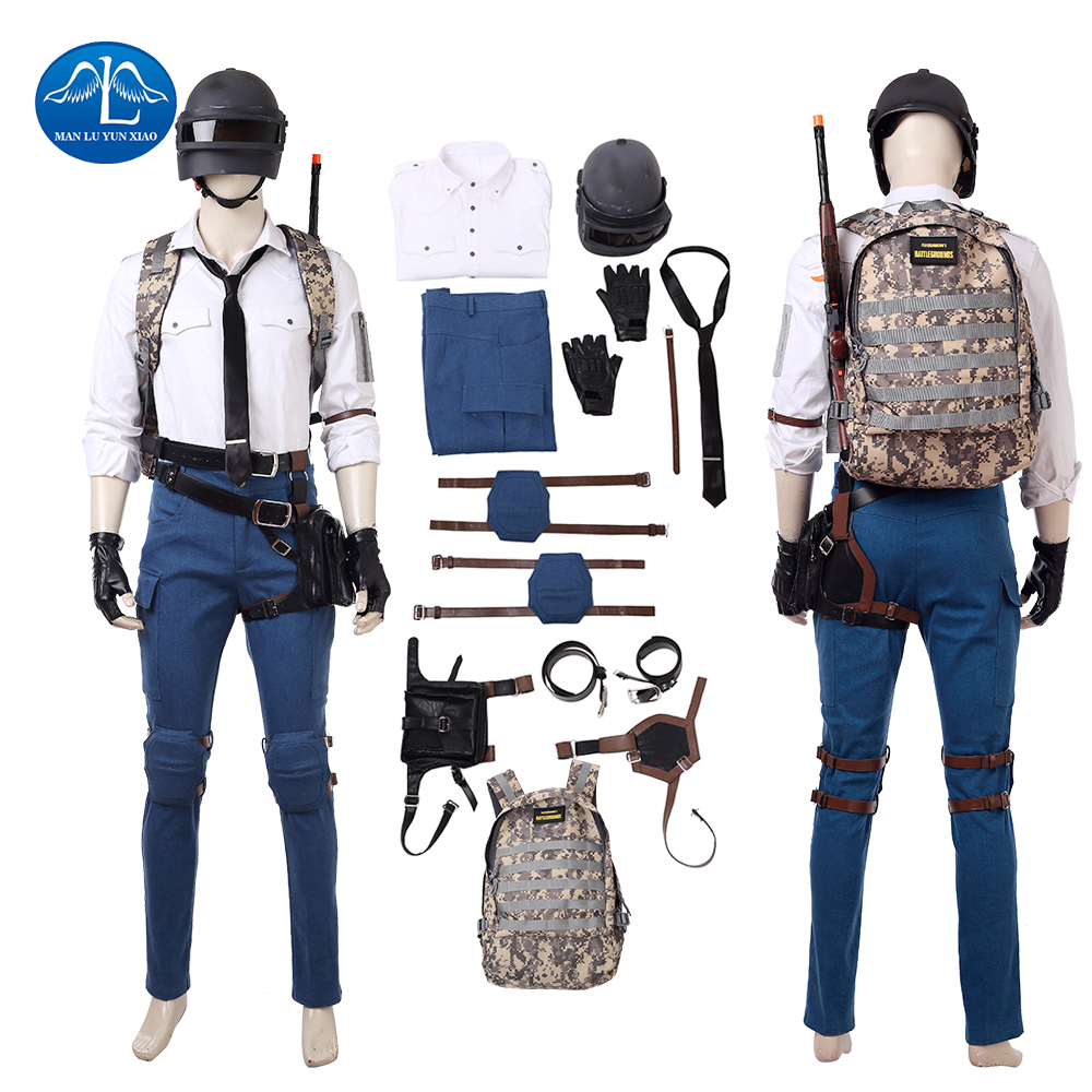 PUBG Hot Game PLAYERUNKNOWN'S BATTLEGROUNDS Costume Halloween PUBG Cosplay Costume For Men Full Set Custom Made Free Shipping