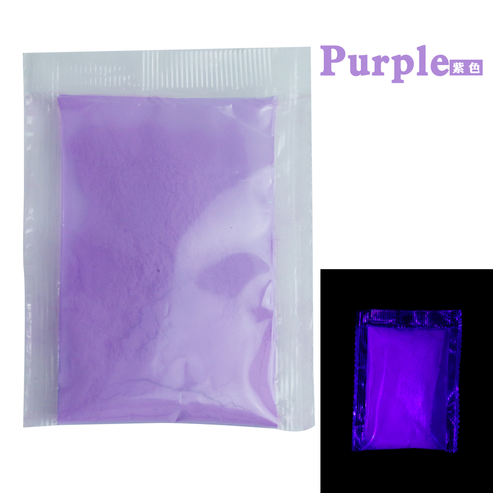 Purple Color Luminous Paint Noctilucent Powder Fluorescence DIY Party Creative Halloween Decorations Glow In Dark 10g Per Pack