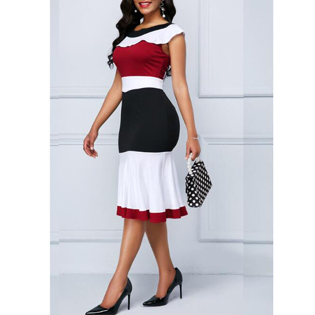 Patchwork Summer Dress Women 2019 Casual Plus Size Slim Ruffles Office A Line Dresses Elegant Vintage Sexy Long Party Dress 5XL 2