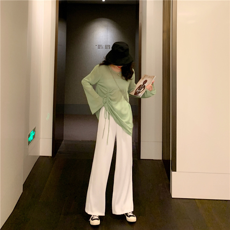 Photo Shoot Net Price ~ Loose-Fit Drawstring Long Sleeve Hollow Out Thin Sweater + High-waisted Loose Drape Straight-leg Pants