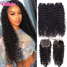 Malaysian Deep Wave Curly Bundles With Closure Human Hair Extensions Malaysian Curly Human Hair 3 Bundles With Closure