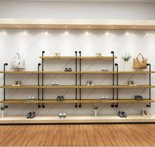 Shoe store shoe rack display rack wall solid wood multi-layer shoe rack iron men's and women's clothing store shoe rack bag rack