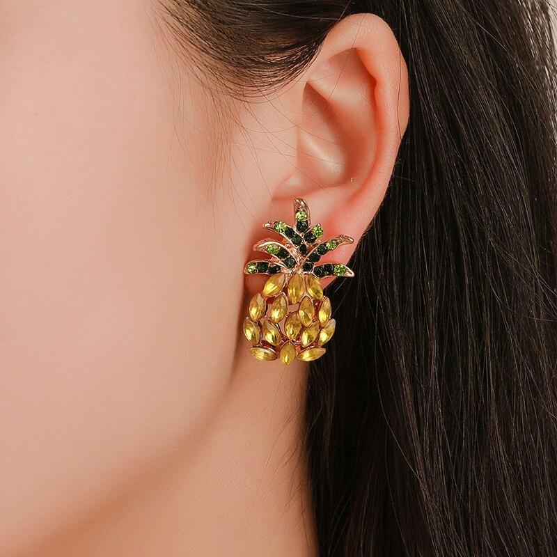 Fashion Crystal Earrings For Women Geometric Pineapple Shape Rhinestone Drop Dangle Earring Female Bohemian Jewelry Party Gifts in Drop Earrings from Jewelry Accessories