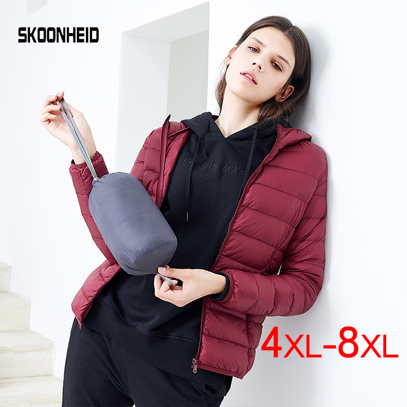 SINGRAIN 2019 Oversized Down Jacket Women Hooded 90% Duck Light Down Coat Winter Portable Female Warm Down Coat 5XL 6XL 7XL 8XL-in Down Coats from Women's Clothing