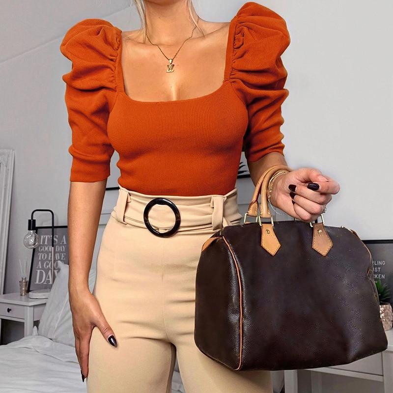 2020Hot New French Elegant Solid Nickel Puffed Sleeves Square Neck T-shirt Female Rib-Knit Base Shirt  Casual  Short