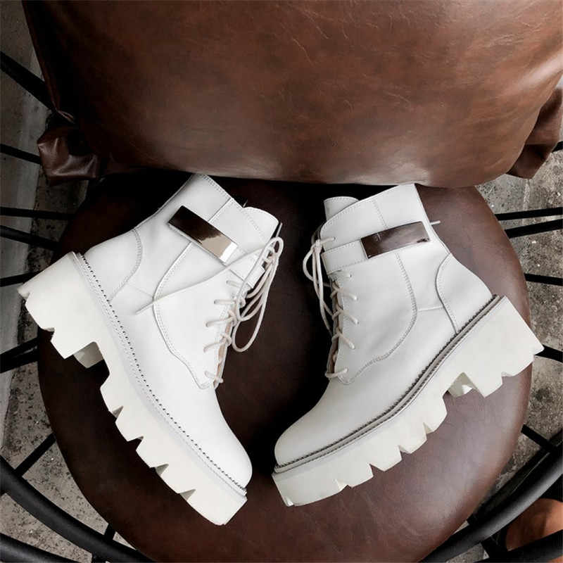 Prova Perfetto 2019 hakiki deri çizmeler kadın ayakkabıları motosiklet yarım çizmeler kadınlar için Platform sonbahar kış çizmeler yağmur çizmeleri