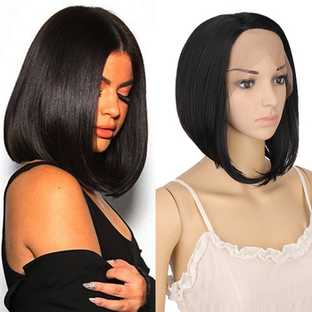 DIANQI 11Bob Short Wig Synthetic Side Part Lace Front Wig Straight Bob with tail curls Short Hair black golden Wig for women medium side parting straight bob synthetic wig