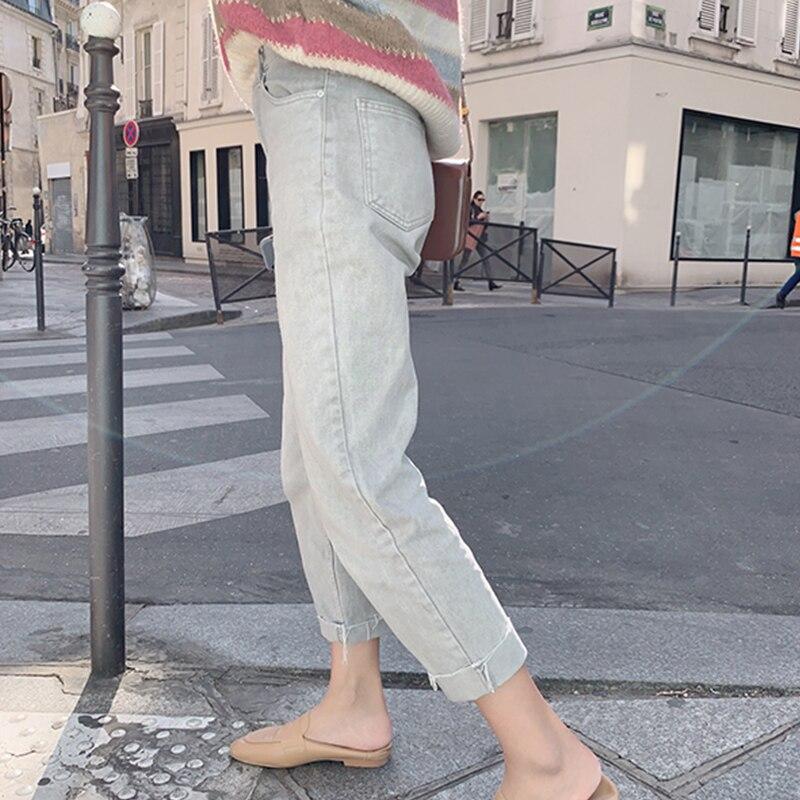 MISHOW  2019 Autumn Winter Causal Light Blue Jean Women High Waist Straight Zipper Long Pants  MX19C2373