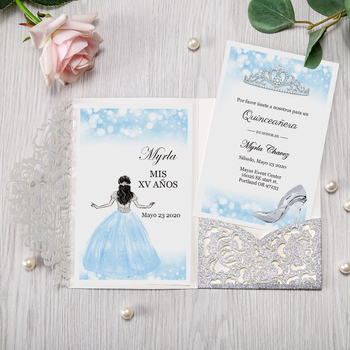 50pcs Silver Laser Cut Floral Invitation Cards for Wedding / Party / Quinceanera / Anniversary / Birthday, CW0008