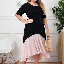 Plus Size Summer Women O Neck Solid Patchwork Short Sleeve Dress Female Casual Knee Length Dress Fashion Beach Ladies Dresses short sleeve white lotus printing o neck women dresses casual cotton linen knee length dress vestidos summer plus size