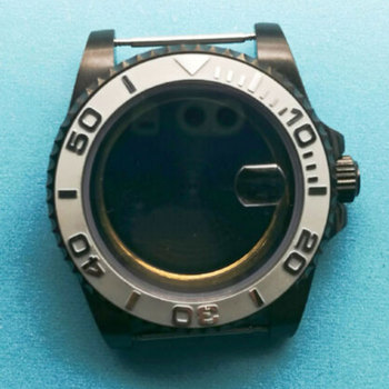 40mm sapphire glass Brushed ceramic bezel PVD Watch Case fit eta 2824 2836 MOVEMENT