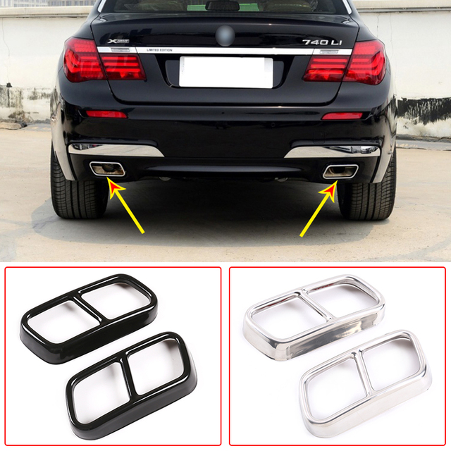 304 Stainless Steel Car Tail Muffler Exhaust Pipe Output Cover Trim For BMW 7 Series F01 2009-2014 Auto Exterior Accessories 1