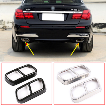 цена на 304 Stainless Steel Car Tail Muffler Exhaust Pipe Output Cover Trim For BMW 7 Series F01 2009-2014 Auto Exterior Accessories
