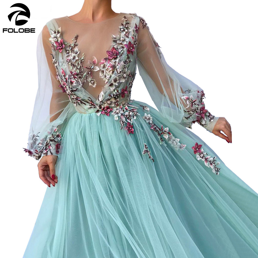 FOLOBE Long Sleeves Evening Dress Party Gowns Robe De Soiree Formal Prom Dresses Plunging 3D Flowers Beading Top Evening Gowns
