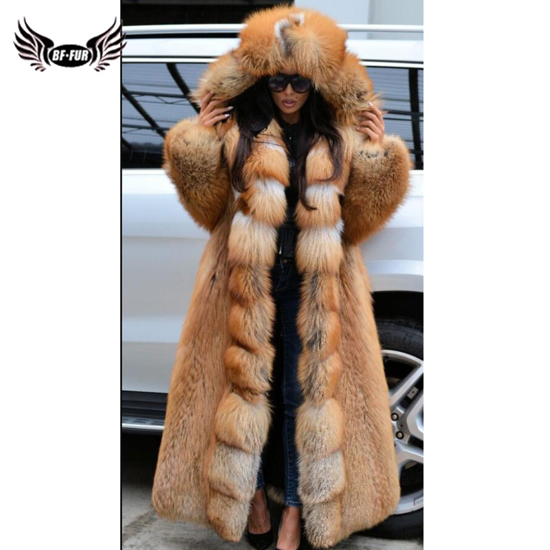 130cm Long Luxury Real Red Fox Fur Coat With Big Hood Thick Warm Winter Genuine Fox Fur Jacket Pelt Natural Fur Coats Woman 2019