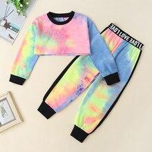 Conjuntos de crianças crianças roupas da criança outono verão casual 2 pçs tie-dye curto colheita topo + calças compridas bebes conjunto vetement bebe 2-6y