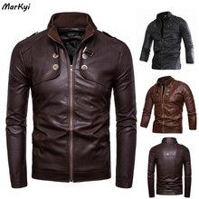 Markyi 2020 fashion stand collar desgin mens pu jackets outwear