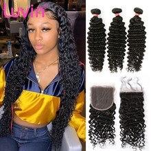 Pacotes de onda profunda do cabelo de luvin com fechamento 4x4 frontal com pacotes cabelo brasileiro 100% humano 3/4 pacotes com fechamento 8-40 Polegada