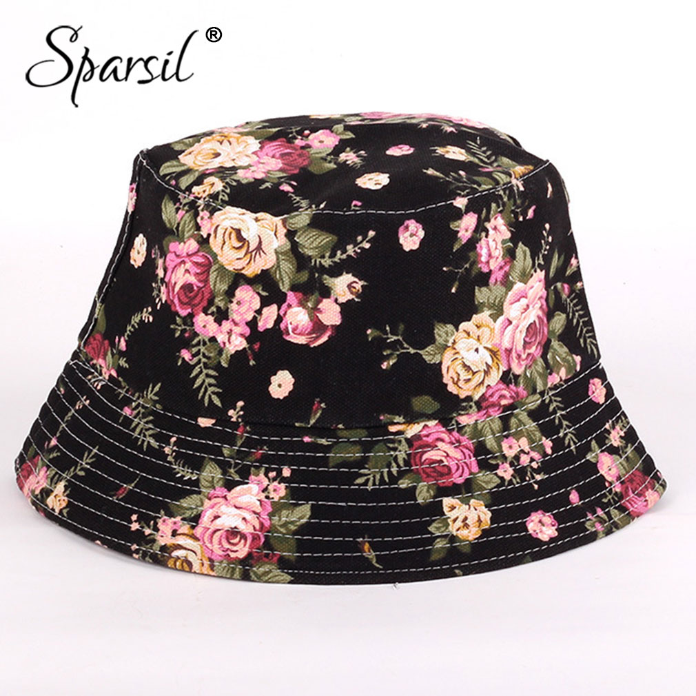 Sparsil Summer Unisex UV Sun Protection Hat Flower Foldable Bucket Outdoor Beach Fish Women Cap Sunshade Men Chapeau 16 Color