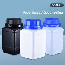4 pces de garrafas vazias do hdpe 500ml com a boca larga da tampa garrafa quadrada para o recipiente de armazenamento do produto comestível da loção da pintura líquida