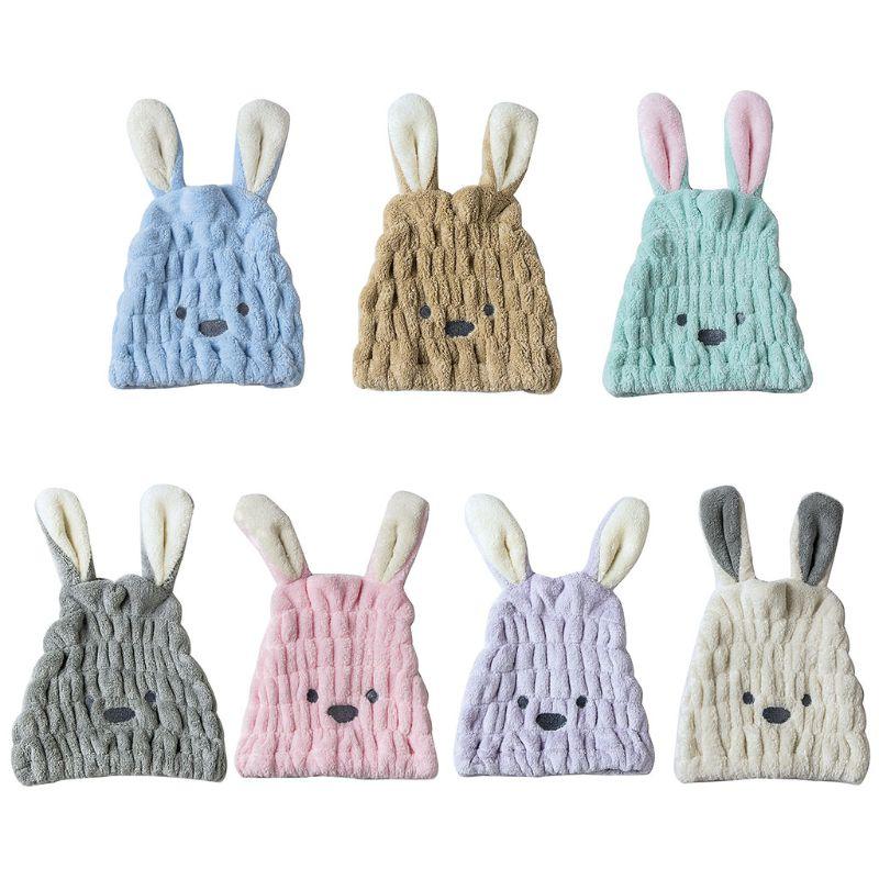 Милые тапочки в виде кролика с длинными ушами сухих волос Кепки Полотенце Для Ванной Душа сильная Абсорбирующая сушка Ультра-мягкие чалма