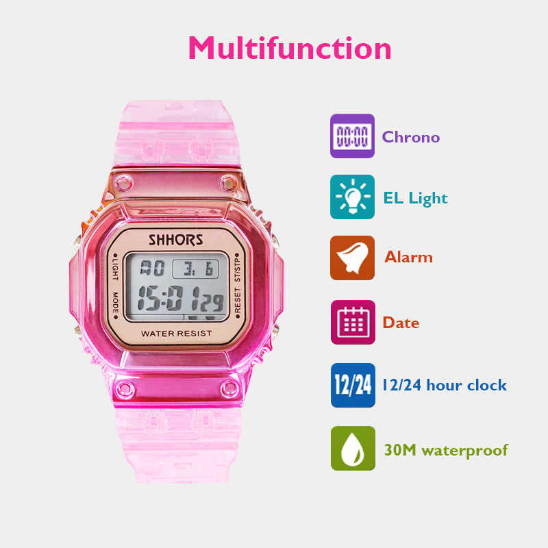 Rose Gold Frauen Digitale Uhr Multifunktions Wasserdichte Frauen Uhren Gradienten Unisex Männliche Uhr Rechteck Kinder Sport Uhren
