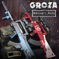 Plastic Toy Gun Groza Water Gel Ball Manual Electric Assault Rifle Blaster Gun Black Blue Outdoor Sports Shooting Game for Boys