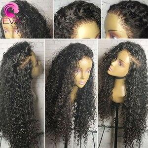 Image 2 - Eva kręcone ludzkie włosy peruki dla kobiet 13x6 koronki przodu włosów ludzkich peruk wstępnie oskubane 370 koronki przodu peruka brazylijski fałszywe skóry głowy peruka