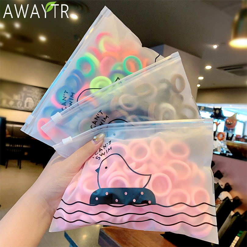 50pcs/Pack Girls Colorful Nylon Small Elastic Hair Bands Children Ponytail Holder Rubber Bands Headband Kids Hair Accessories