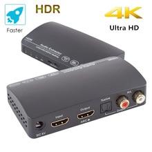 HDR אודיו ספליטר 1x3 4K HDCP 2.2 קשת מתג אודיו Extractor HDMI תואם ספליטר תומך HDMI 2.0 60Hz HDR 1 ב 3 החוצה hdr
