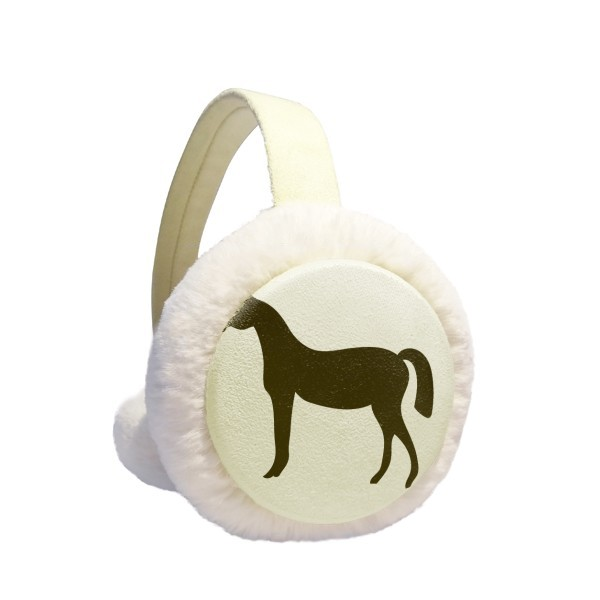 Black Horse Animal Portrayal Winter Earmuffs Ear Warmers Faux Fur Foldable Plush Outdoor Gift