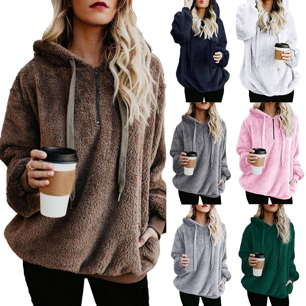 Fashion Winter Plus Size Women Hoodies Thick Warm Faux Fur Solid Color Women Long Sleeve Hoodies Zipper Hooded Sweatshirt