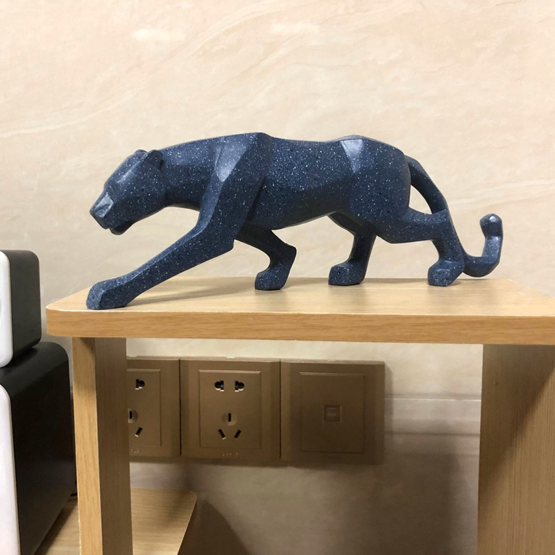 Europe Leopard Sculpture Model Blue Cyan Geometric Panther Resin Statue Home Office Bar  Animal Decoration Gift Craft Ornament