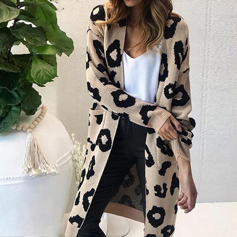 Women Autumn Leopard Long Sweater Cardigan Causal Loose Knitted Sweater Women Sweater Winter Tops 2019 New Plus Size