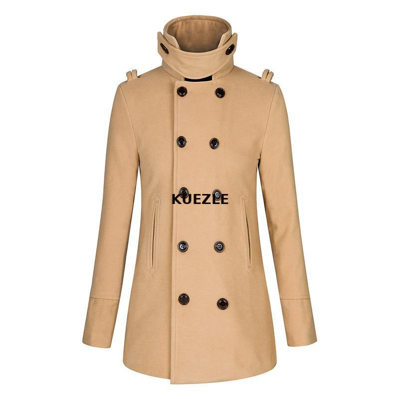 Jackets 2019 Woolen coat spring and autumn double-breasted Korean fashion men's slim trench coat large size men coats 3XL