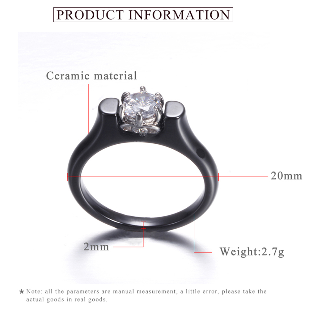 6MM Crystal Ceramic Ring Woman Cubic Zirconia Stone Black/White Color Women Jewelry Engagement Wedding Rings Gifts For Women 3