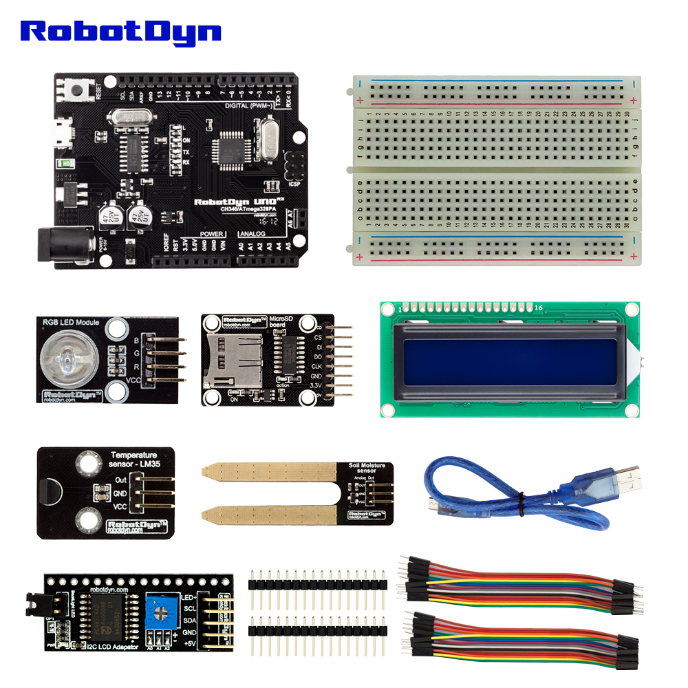 KIT:UNO R3 with sensors for Tempreture and Moisture compatible with Arduino IDE for DIY Electronic Smart Gardening