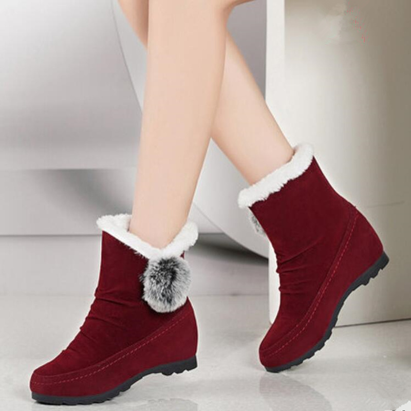 Snow Boots 2019 New Women's tube <font><b>Shoes</b></font> Plus Velvet Keep Warm <font><b>Lolita</b></font> Hairball Cute Girls Snow Boots Female <font><b>Red</b></font> Gray Black <font><b>Shoe</b></font> image