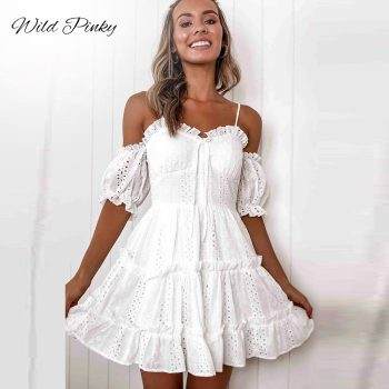 WildPinky Elegant White Pleated Lace Women Dress Sexy Spaghetti Strap Female Ruffle Cotton Summer Beach Ladies Mini