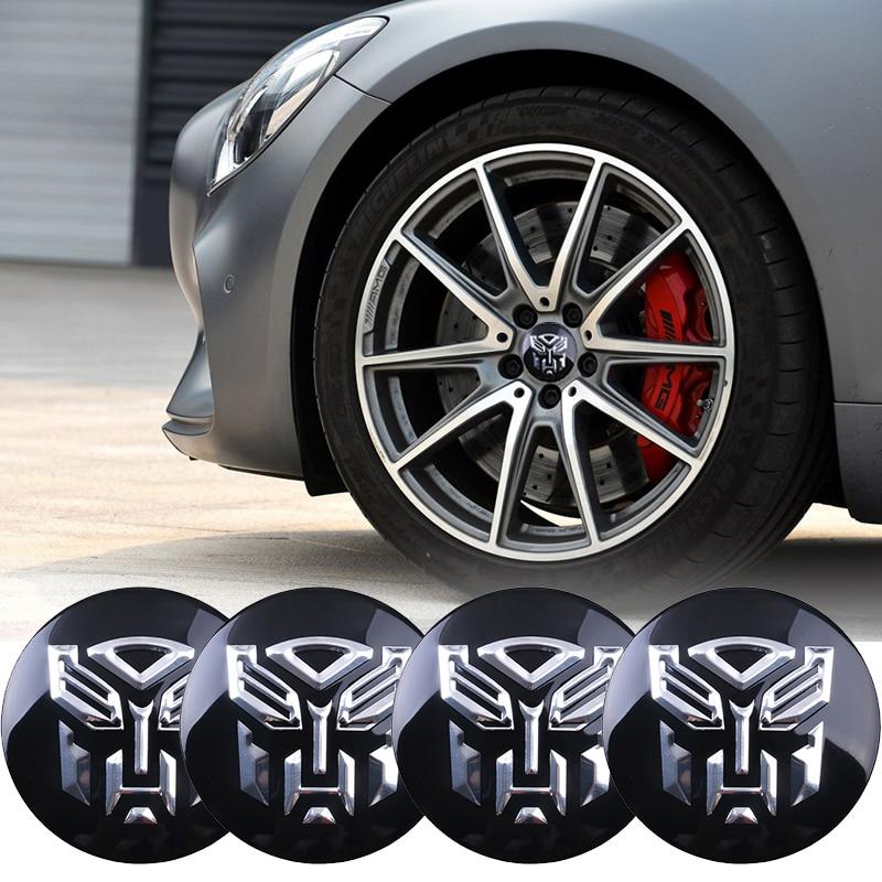 Car styling 4Pcs 56mm Transformers logo Car Tyre Wheel Center Hub Cap Autobots Emblem Decal Badge sticker accessories