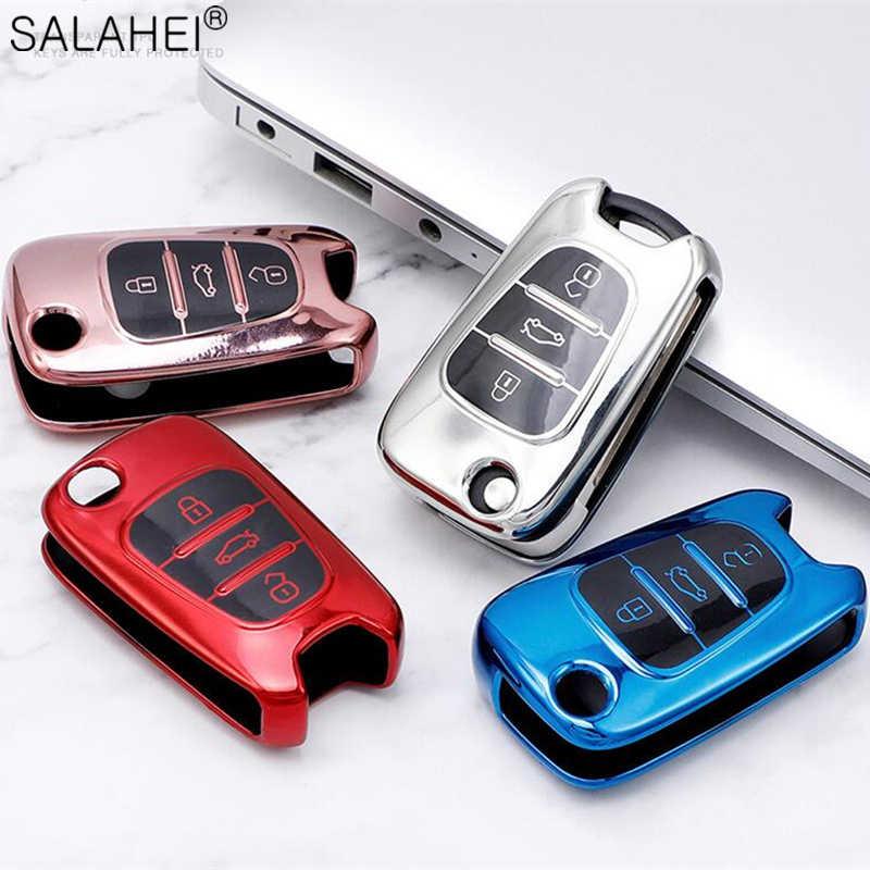 Llaves del coche de Silicona Funda protectora rosa para Hyundai Kia 3 teclas clave de plegado