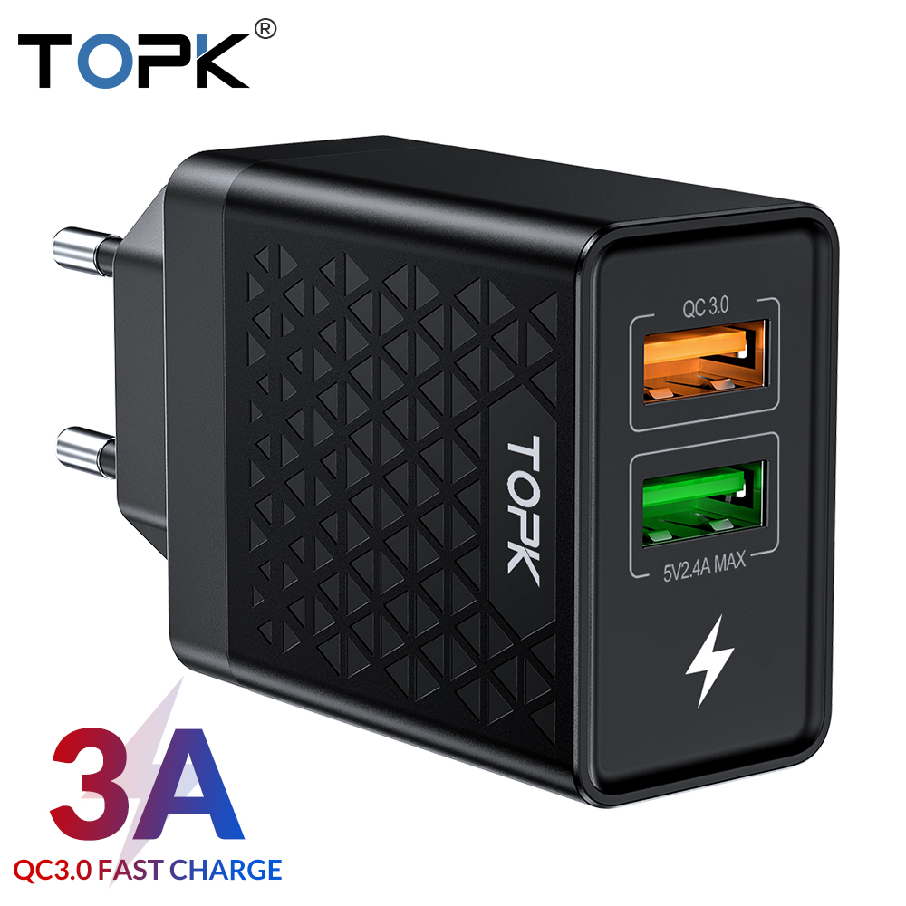 TOPK B254Q Quick Charge 3.0 Dual USB Charger Adapter EU Travel Wall QC3.0 Fast Phone Charger for iPhone Samsung Xiaomi-in Mobile Phone Chargers from Cellphones & Telecommunications