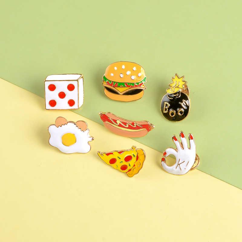 Rifornimenti quotidiani Risvolto Spilli Pizza Hot dog uovo in camicia Hamburger Dadi Spille Distintivi e Simboli Zaino Carino Spilli Gioielli Regali Per Gli Amici