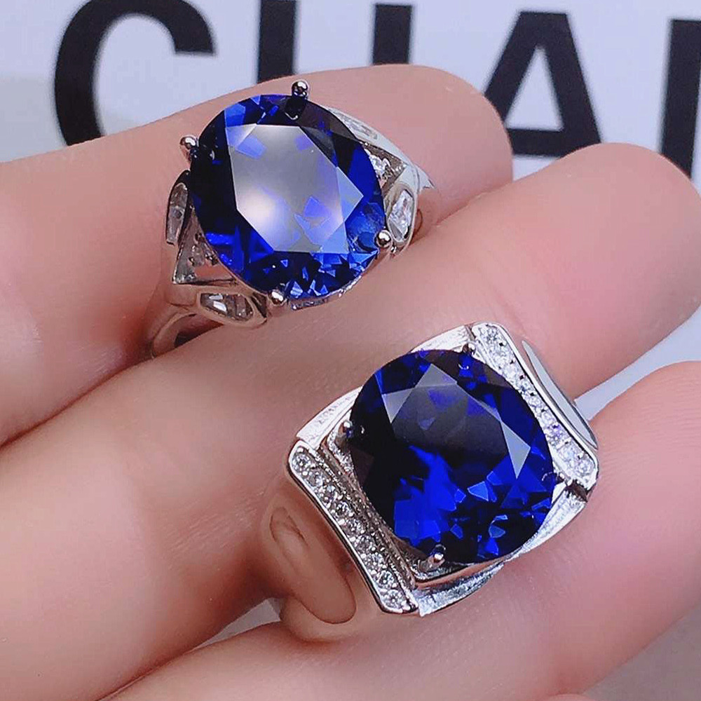 Blue crystal sapphire gemstones diamonds rings for men women couple white gold silver color jewelry bijoux bague wedding gifts
