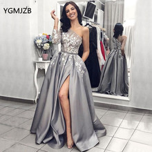 Grey Satin Evening Dresses One Shoulder Lace Long Sleeves Sexy Split Formal Dress Prom Dress Robe De Soiree