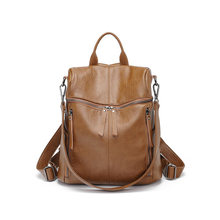 Multifunctional Women's travel backpack high quality leather ladies backpack Mochila Female student shoulder school bag C1140(China)