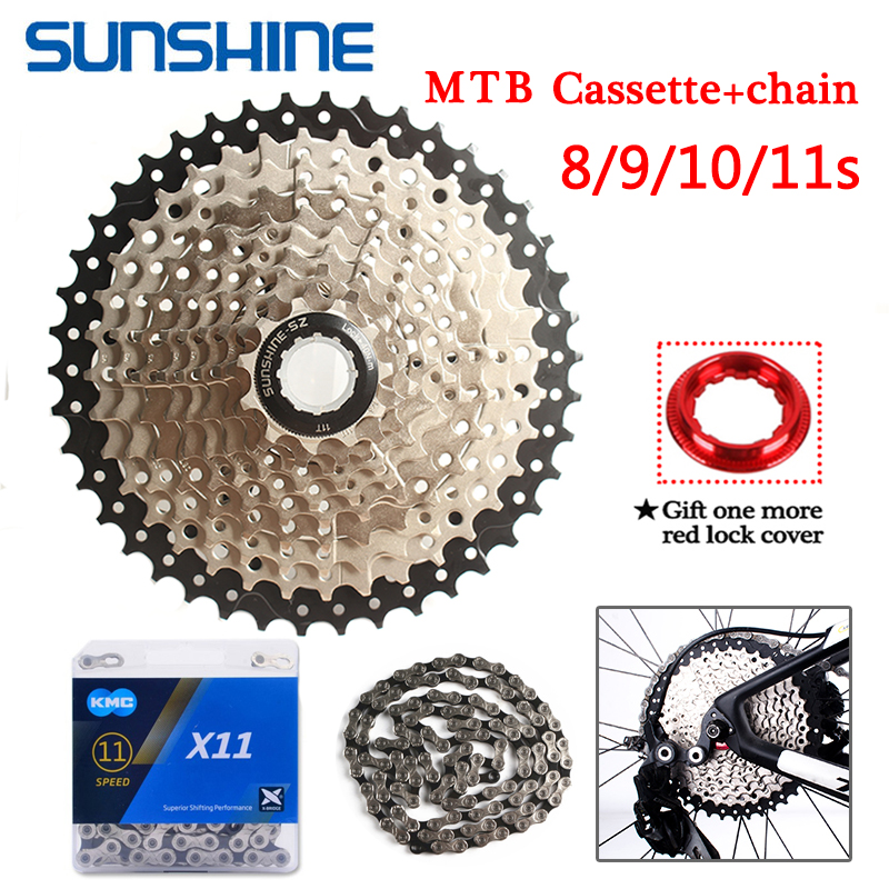 SUNRACE KMC 8//9//10//11S MTB Bike Cassette Chain 11-40//42//46T Sprocket Derailler