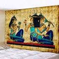 Желтый древний Египетский гобелен, настенный подвесной винтажный гобелен с принтом старой культуры, хиппи, египетские гобелены, домашний д...
